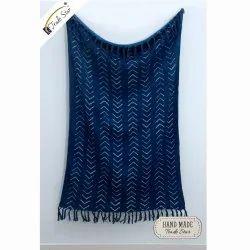 Indigo Handloom Cotton Throw Hand Block Printed Mud Cloth Throw Blankets