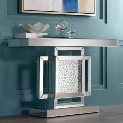 Modern Interior Squar Window Designed Mirror Console Table With Crystal