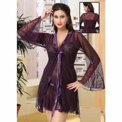 Ladies Purple Satin Nightwear