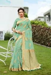 Party Wear Banarasi Silk Woven Saree With Blouse Piece