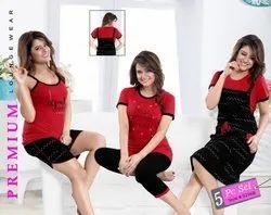 Short, Long Red, Black KuuKee 9296 Hosiery 5 Piece Night Wear Set