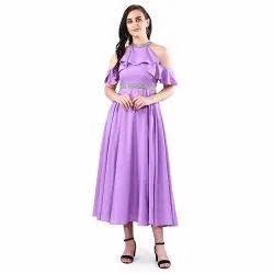 Party Wear Women Lilac Frill Maxi Dress