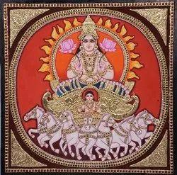 Surya bhagwan Tanjore painting