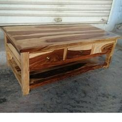 Natural Wooden Central Table With Drawer