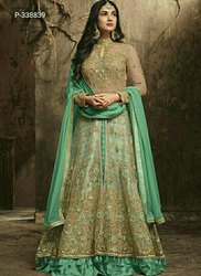 Wedding Engagement Wear Anarkali Net Gown, Size: Free