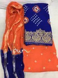 35c87fb091 Regular Wear Thankar Latest Bandhani Cotton Dress Material, For Dry Clean