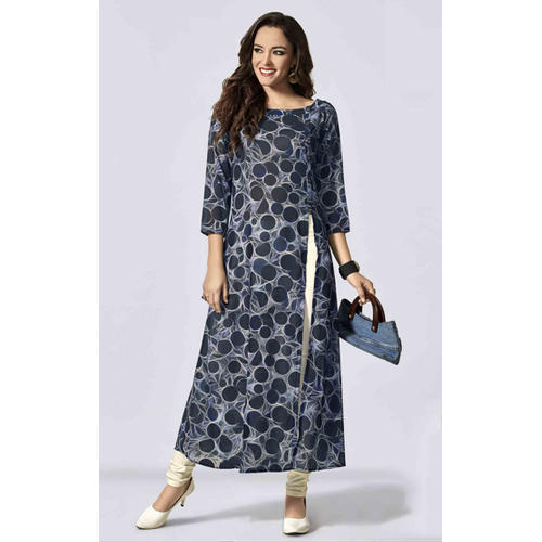 41bf1be363 Crepe Blue & White Printed Fancy Long Kurti, Rs 750 /piece   ID ...