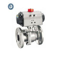 2 Way Double Flange Acting Stainless Steel Pneumatic Actuated Ball Valve