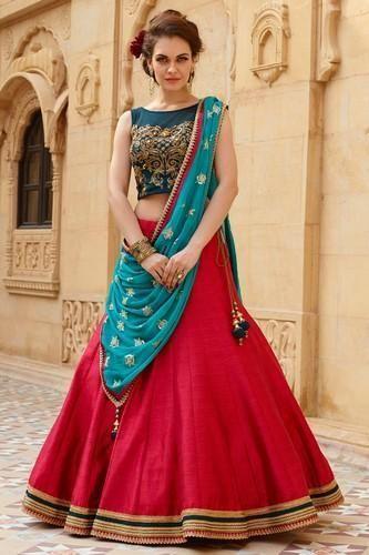 fb116e011f Semi-Stitched Multicolor New Banglori Silk Blue And Red Lehenga Choli