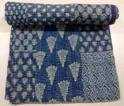 Handmade Handblock Printed Floral Hand Stitched Khatha Quilt