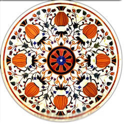 Round Inlay Marble Table Tops Pietra Dura