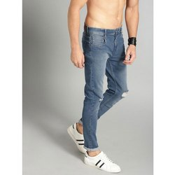 Formal Wear Button Blue Mens Knee Damage Jeans