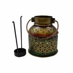 Brass Iron Tea Light Kettle, Shape: Round