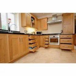 Stainless Steel(Handle) Brown Wooden Kitchen Cabinet