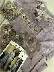 Unstitched Party Wear Chikankari Embroidered Suits