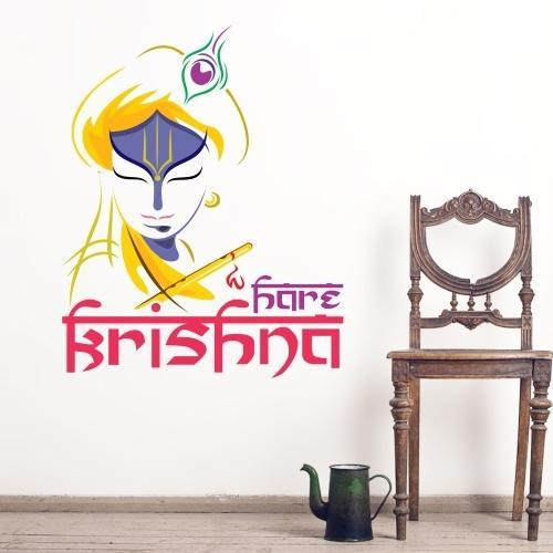 printed hare krishna wall sticker, size/dimension: 4 square feet, rs