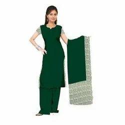 Poly Cotton Plain Ladies Green Salwar Suit, Handwash, Size: S-XL