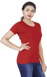 Red Plain Cotton T Shirt