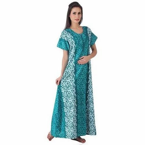 Full Length Ladies Printed Cotton Nighty
