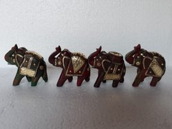 4 Set Of Wooden Elephant With Metal Fitted, Small Elephant Showpiece, Rajasthani Handicrafts