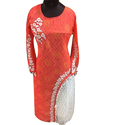 Ladies Georgette Embroidered Full Sleeve Kurti, Size: XL