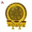 Nutristar Brass Laser Design Rose Printed Pooja Plate With Set Of Gandham Ginni And Deepam