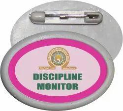 Oval School Sticker Plastic Badge