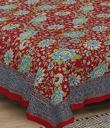 Red Floral Bed Sheet