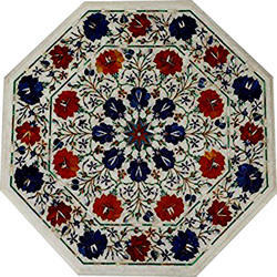 Random Marble Dining Mosaic Inlay Work  Table