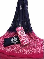 Wax Batik Printed Cotton Chiffon Dupatta Suit Fabric