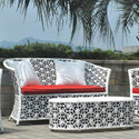 Pvc And Rattan Sofa Set, Size: 48 Inch