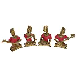 Brass Musician Set With Stone Work