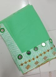 Georgette Mirror And Hand Work Borderd Pattern Light Green Saree