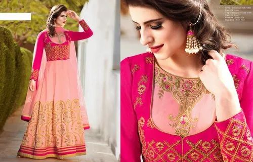 52a8501ab9 Embroidered Pink Silk Anarkali Suit Long Muslim Party Wear, Rs 3500 ...