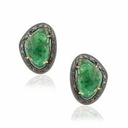 Emerald Natural Solid Stud Pave Diamond Earring Jewelry Wholesaler Exporter