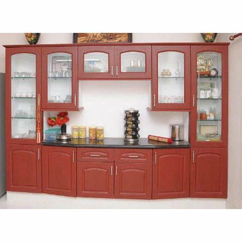 Brown Wooden Glass Kitchen Crockery, Kitchen Unit Display Cabinet