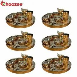 Choozee - Copper Thali Set of 6 (60 Pcs) Thali, Bowl, Spoon, Glass and Ice-Cream Cup