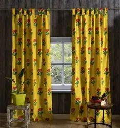 Handicraft-Palace Floral Cotton Hand Block Printed Curtain