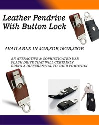Leather Pendrive With Button Lock