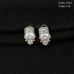 American Diamond Delicate Stud Earring with CZ Stones