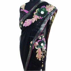 Georgette & Silk Black Designer Saree, Length: 6 m