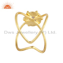 Ethiopian Opal Gemstone Gold Plated Designer 925 Silver Ring Supplier