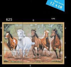Newzenx Multicolored Running Horse Ceramic Wall Tile , 5-10 mm
