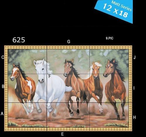 Newzenx Multi-coloured Running Horse Ceramic Wall Tile, Size (In cm): 30 x 45, 5-10 mm