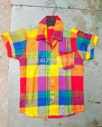 Cotton Regular Wear Multi Color Kids Shirt