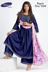 3/4th Sleeve A-line Fancy Lace Work Kurti with Palazzo and Dupatta