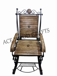 Modern Brown Wrought Iron Rocking Chair, Back Style: High Back, 38x21x35