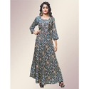 Cotton 3/4th Sleeves Floor Length Printed Gown, Size: M-xl