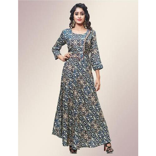 Cotton 3 4th Sleeves Floor Length Printed Gown 44b225e01