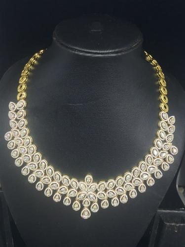 9ec4686602004 Sarvada Jewels 18K Yellow Gold Diamond Necklace with pear and marquise  solitaires